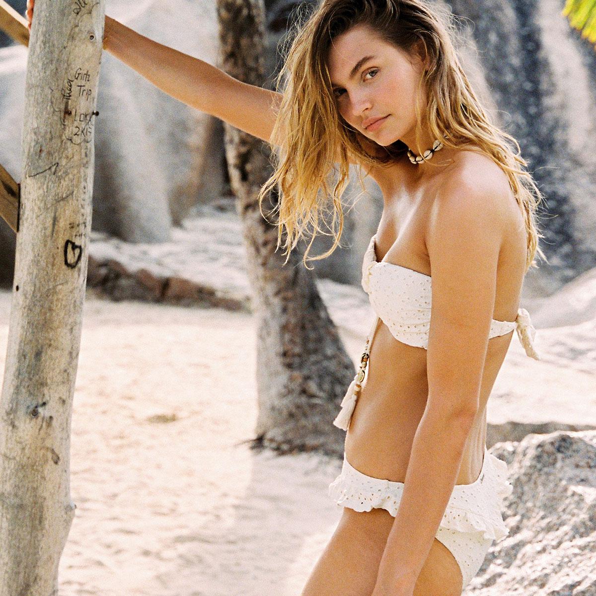 Bas de maillot de bain Culotte Beige écru Beach Broderie