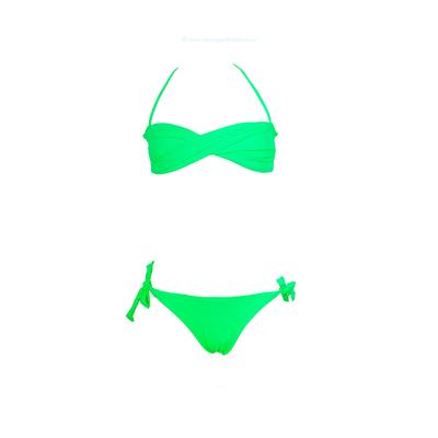 Maillot de bain enfant deux pièces bandeau vert fluo