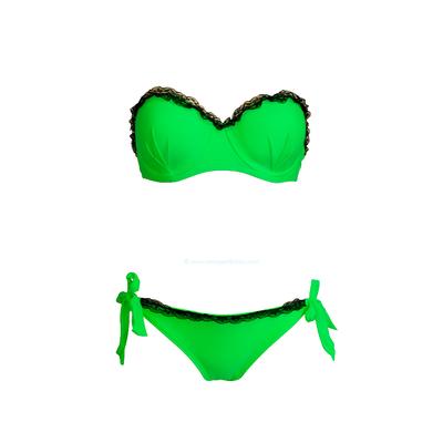 Maillot de bain deux pièces balconnet dentelle vert fluo