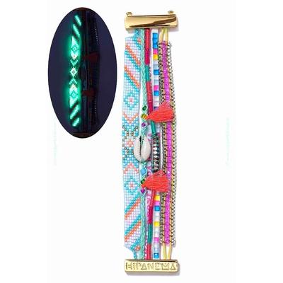 Bracelet brésilien fluorescent bleu turquoise