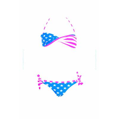 Maillot de bain deux pièces enfant - Imprimé usa bleu turquoise et rose fluo