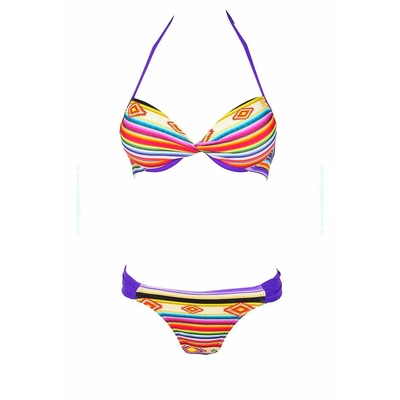 Maillot de bain push-up rayé multicolore Pepito