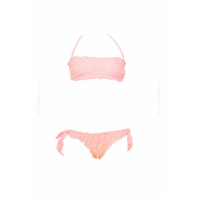 Maillot de bain fille deux pièces bandeau orange pastel