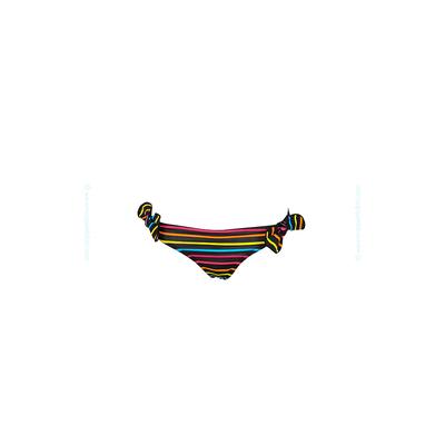 Bas de maillot de bain enfant culotte rayée noire multicolore