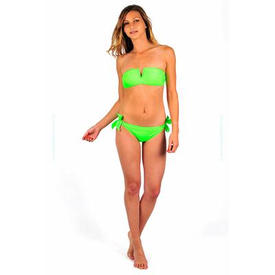 Maillot de bain deux pièces bandeau vert fluo col en V
