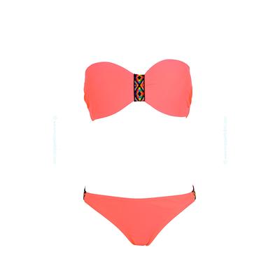 Maillot de bain 2 pièces bandeau rose corail fluo Indien