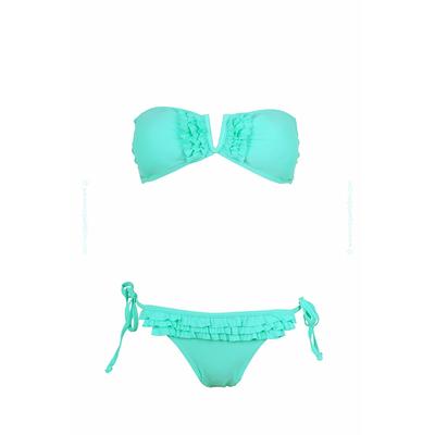 Maillot de bain bandeau col V vert pastel