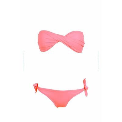 Maillot de bain 2 pièces bandeau twist rose corail