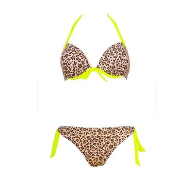 Maillot de bain push-up léopard jaune fluo