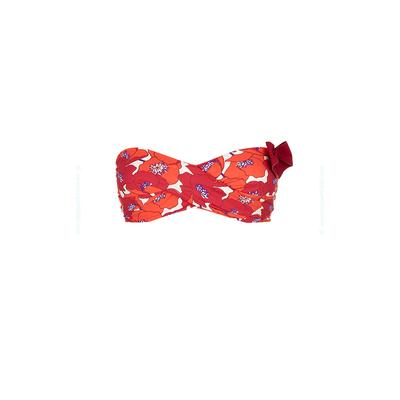 Haut de maillot de bain bandeau twist rouge fleuri Poppy