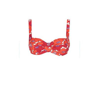 Haut de maillot de bain à balconnet rouge fleuri Poppy