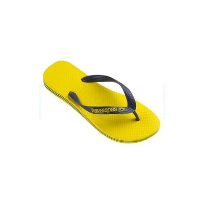 Tongs Brasil Logo jaune citron unisexe