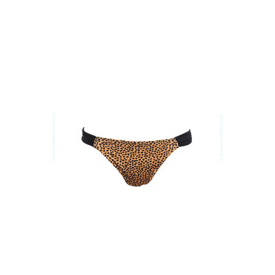 Bas de maillot de bain marron camel imprimé léopard Leone