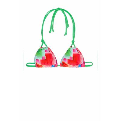 Maillot de bain triangle Codelic vert imprimé graphique (Haut)