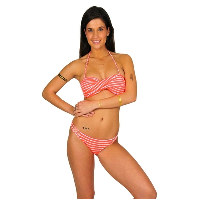 Bikini bandeau à rayures corail fluo Little Fun