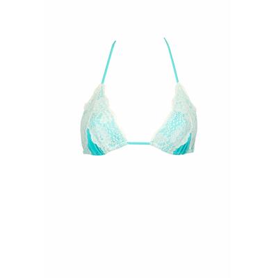 Maillot de bain triangle en dentelle bleu turquoise Lady Lace (Haut)