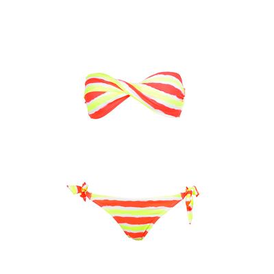 Maillot de bain deux pièces bandeau twist tie and dye jaune fluo et corail