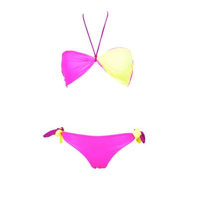 Bikini deux pièces bandeau twist reversible violet rose et jaune