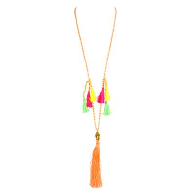 Collier orange corail à pompons