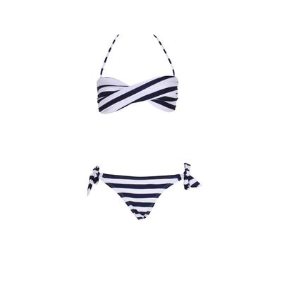 Mon Mini Twist Bikini rayé bleu marine 2 pièces fille
