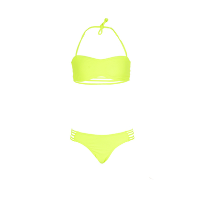 Mon Mini Teenie Bikini jaune fluo 2 pièces fille