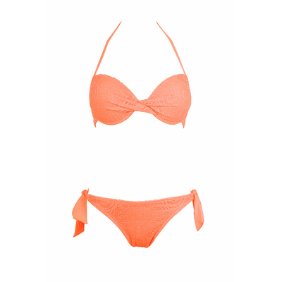 Maillot de bain push-up dentelle corail fluo