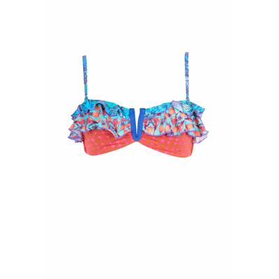 Haut de maillot de bain Bandeau Blooming Champion rose et bleu
