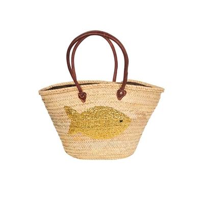 Panier de plage en osier motif poisson en paillettes dorées