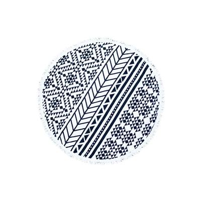 Serviette de plage ronde imprimé aztèque noir