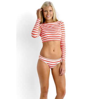 Maillot de bain Crop Top rayé Orange corail Coast to Coast (Haut)