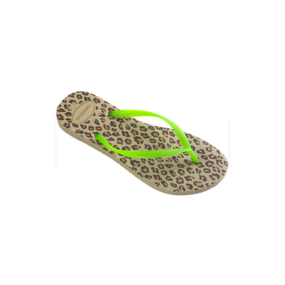 Havaianas - Tongs Slim animals vert fluo imprimé léopard