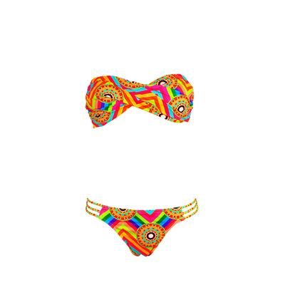 Maillot de bain bandeau 2 pièces imprimé multicolore Mandala