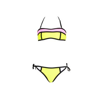 Maillot de bain fille 2 pièces jaune bandeau