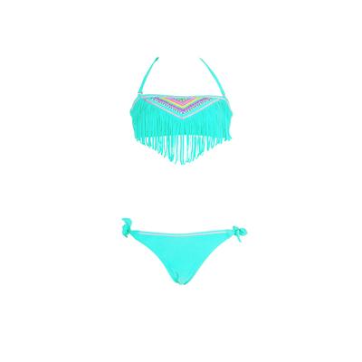 Maillot de bain fille 2 pièces bandeau à franges vert pastel
