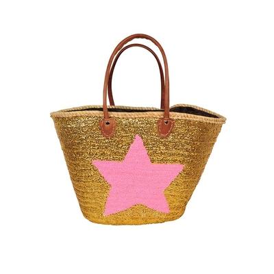 Panier de plage pailettes doré et motif étoile rose