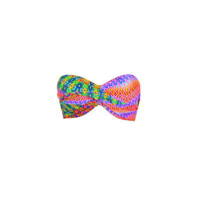 Maillot de bain bandeau twist multicolore Free Love (haut)