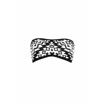 Maillot de bain neoprène bandeau noir et blanc Kasbah (haut)