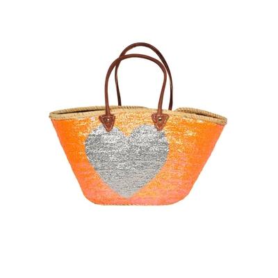 Panier de plage orange motif coeur argenté