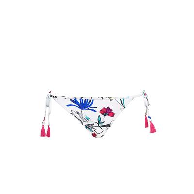Maillot de bain culotte à liens imprimé blanc Flower Festival (Bas)
