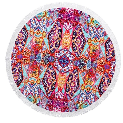 Serviette ronde multicolore Istanbul Fringe Benefits