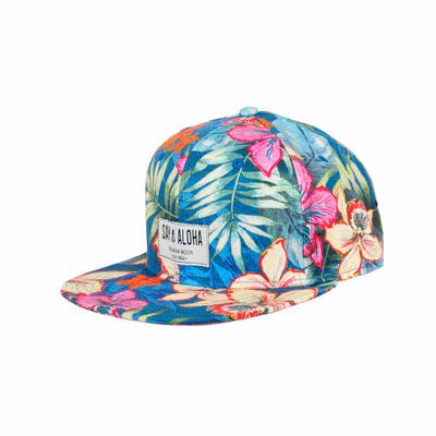 Casquette bleue à fleurs multicolore Hanalei