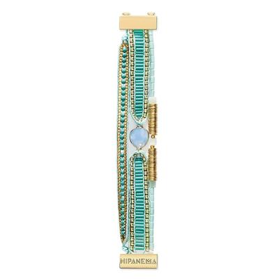 Manchette bleue turquoise et dorée Mini Bianca