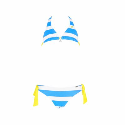 Maillot de bain fille 2 pièces bleu azur et blanc Deerfield