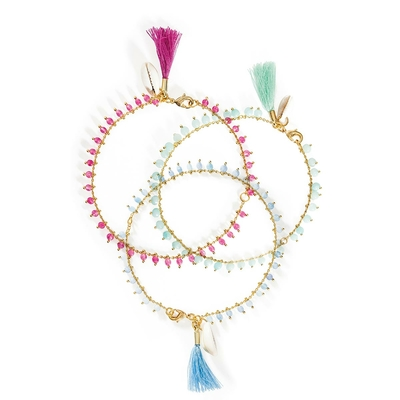 Lot de bracelets de cheville bleus Praïa