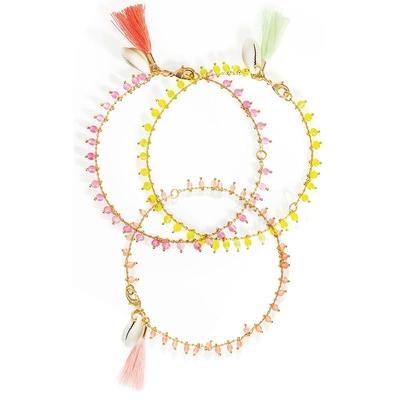 Lot de bracelets de cheville roses Praia
