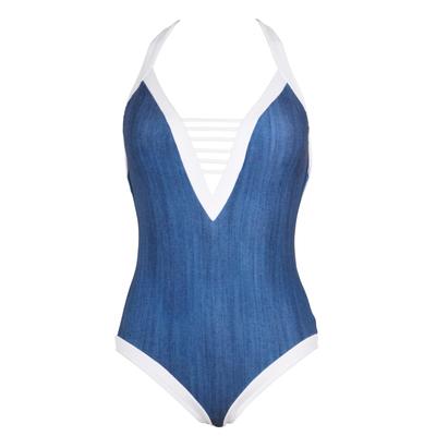 Maillot de bain 1 pièce décolleté bleu jeans Block Party