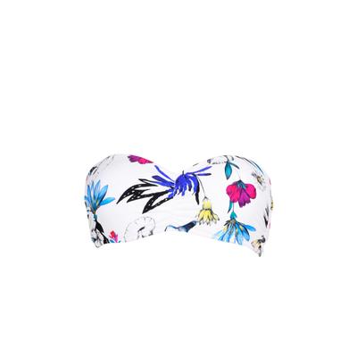 Maillot de bain bandeau imprimé blanc Flower Festival (Haut)