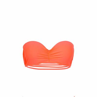 Mon bandeau à liens Teenie Bikini corail fluo (Haut)