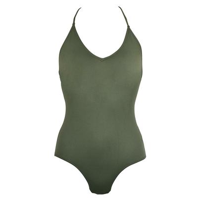 Maillot de bain une pièce vert kaki Lace Up