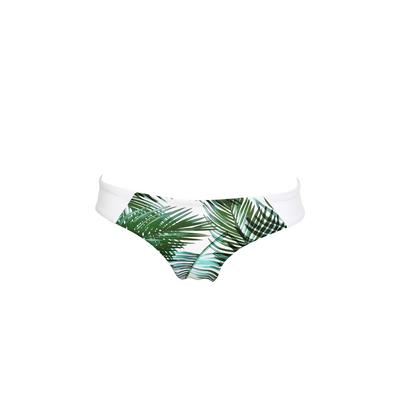 Maillot de bain tanga blanc et vert Palms (Bas)